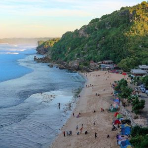 pok tunggal beach is tourist destination in yogyakarta
