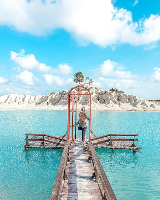 Biru lake Is one of the active sand mining in the Bintan Island region
